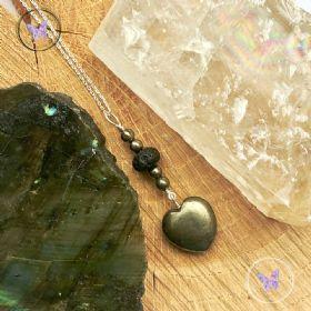 Pyrite Heart & Lava Stone Pendant Necklace